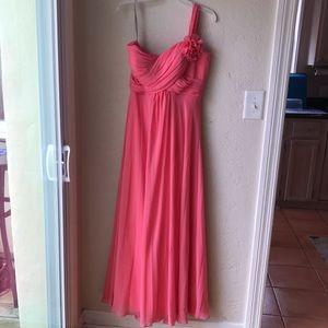Bill Levkoff Coral bridesmaid dress. Size 10